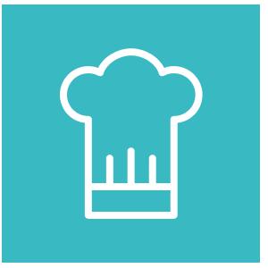 Icone toque de chef sur fond bleu