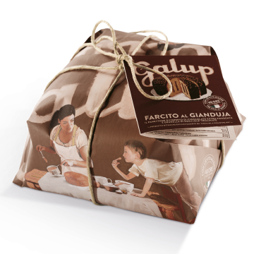 Panettone enrobage chocolat fourré au gianduja, panettone gianduja, panettone traditionnel au gianduja, panettone au chocolat, panettone italien, panettone traditionnel, panettone artisanal, panettone acheter, panettone galup, brioche de noël italienne, produits italiens en ligne, produits italiens moins cher